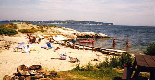 sandy beach at Gray Homestead camping southport island maine