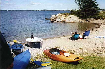 Beach at Gray Homestead Oceanfront Campround. Maine cottage rental, Maine camping near Boothbay Harbor.