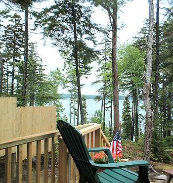 deck of new cottage.Gray Homestead cottage rental in Maine near Boothbay Harbor