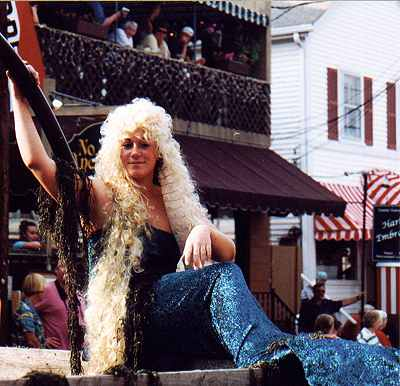 Mermaid float in the annual Windjammer Days parade - Boothbay Harbor